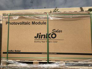 Solar panels ready for installation at JFK High School